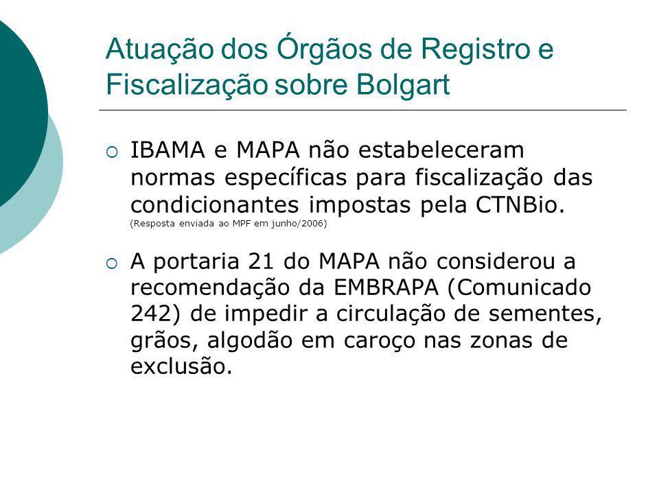 Atuação dos Órgãos de Registro e Fiscalização sobre Bolgart  IBAMA e MAPA não estabeleceram normas específicas para fiscalização das condicionantes i