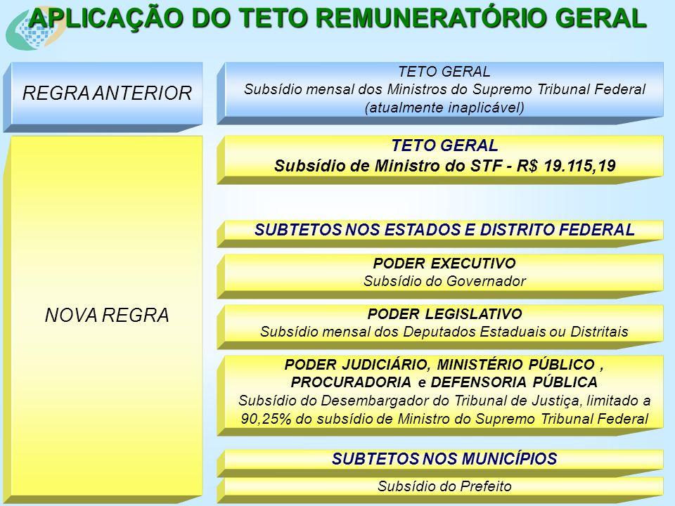 APLICAÇÃO DO TETO REMUNERATÓRIO GERAL REGRA ANTERIOR TETO GERAL Subsídio mensal dos Ministros do Supremo Tribunal Federal (atualmente inaplicável) NOVA REGRA TETO GERAL Subsídio de Ministro do STF - R$ 19.115,19 PODER EXECUTIVO Subsídio do Governador PODER LEGISLATIVO Subsídio mensal dos Deputados Estaduais ou Distritais PODER JUDICIÁRIO, MINISTÉRIO PÚBLICO, PROCURADORIA e DEFENSORIA PÚBLICA Subsídio do Desembargador do Tribunal de Justiça, limitado a 90,25% do subsídio de Ministro do Supremo Tribunal Federal SUBTETOS NOS ESTADOS E DISTRITO FEDERAL Subsídio do Prefeito SUBTETOS NOS MUNICÍPIOS