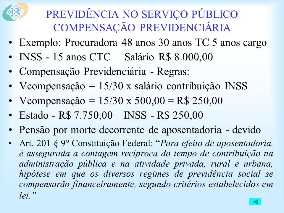 PREVIDÊNCIA NO SERVIÇO PÚBLICO COMPENSAÇÃO PREVIDENCIÁRIA •Exemplo: Procuradora 48 anos 30 anos TC 5 anos cargo •INSS - 15 anos CTC Salário R$ 8.000,00 •Compensação Previdenciária - Regras: •Vcompensação = 15/30 x salário contribuição INSS •Vcompensação = 15/30 x 500,00 = R$ 250,00 •Estado - R$ 7.750,00 INSS - R$ 250,00 •Pensão por morte decorrente de aposentadoria - devido •Art.