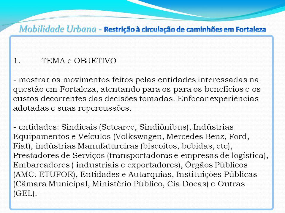 1.TEMA e OBJETIVO - mostrar os movimentos feitos pelas entidades interessadas na questão em Fortaleza, atentando para os para os benefícios e os custos decorrentes das decisões tomadas.