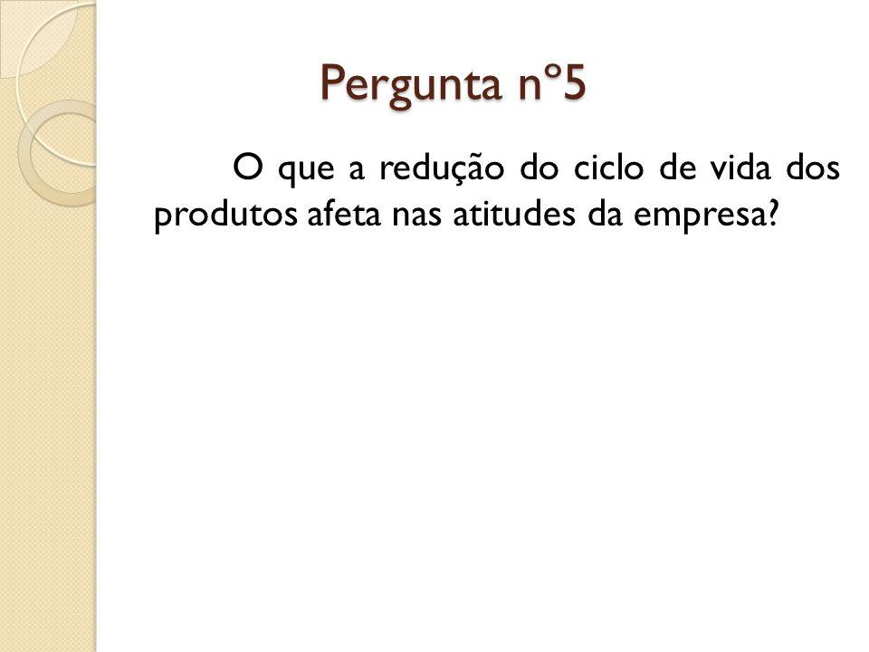 Pergunta nº5 Pergunta nº5 O que a redução do ciclo de vida dos produtos afeta nas atitudes da empresa