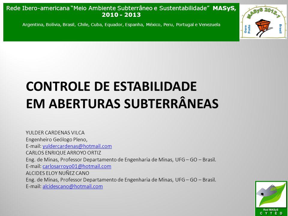 CONTROLE DE ESTABILIDADE EM ABERTURAS SUBTERRÂNEAS YULDER CARDENAS VILCA Engenheiro Geólogo Pleno, E-mail: yuldercardenas@hotmail.com CARLOS ENRIQUE A