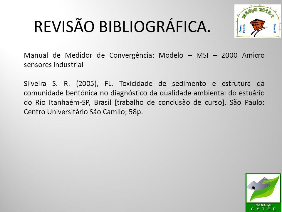 REVISÃO BIBLIOGRÁFICA. Manual de Medidor de Convergência: Modelo – MSI – 2000 Amicro sensores industrial Silveira S. R. (2005), FL. Toxicidade de sedi