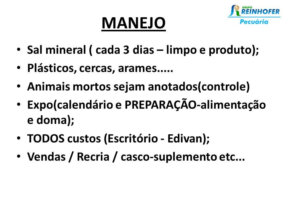 MANEJO • Sal mineral ( cada 3 dias – limpo e produto); • Plásticos, cercas, arames.....