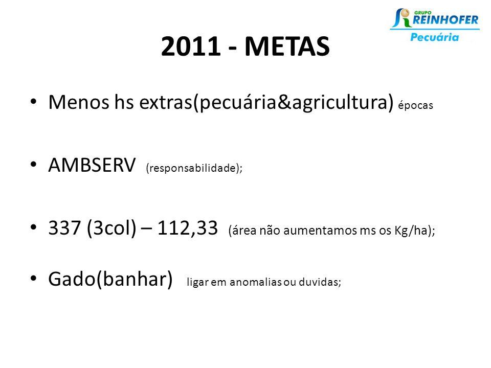 2011 - METAS • Menos hs extras(pecuária&agricultura) épocas • AMBSERV (responsabilidade); • 337 (3col) – 112,33 (área não aumentamos ms os Kg/ha); • Gado(banhar) ligar em anomalias ou duvidas;