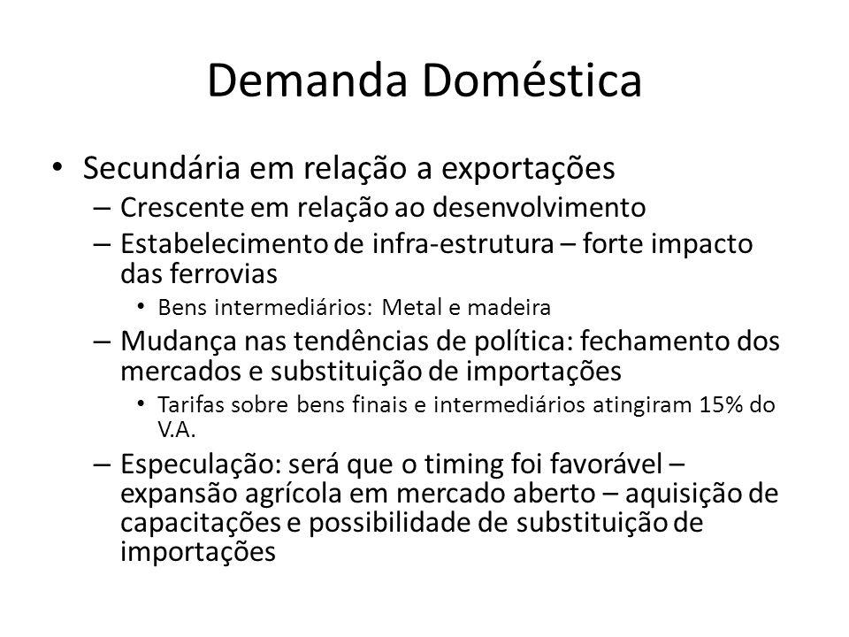 Demanda Doméstica • Secundária em relação a exportações – Crescente em relação ao desenvolvimento – Estabelecimento de infra-estrutura – forte impacto