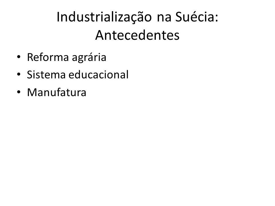 Industrialização na Suécia: Antecedentes • Reforma agrária • Sistema educacional • Manufatura