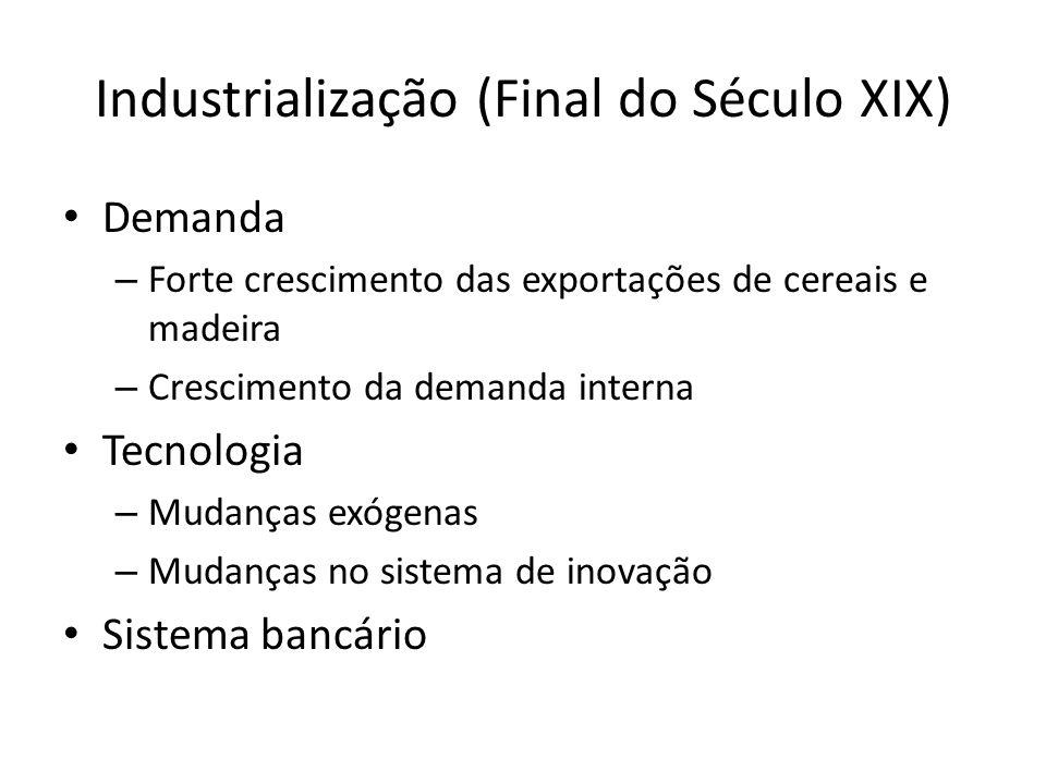 Industrialização (Final do Século XIX) • Demanda – Forte crescimento das exportações de cereais e madeira – Crescimento da demanda interna • Tecnologi