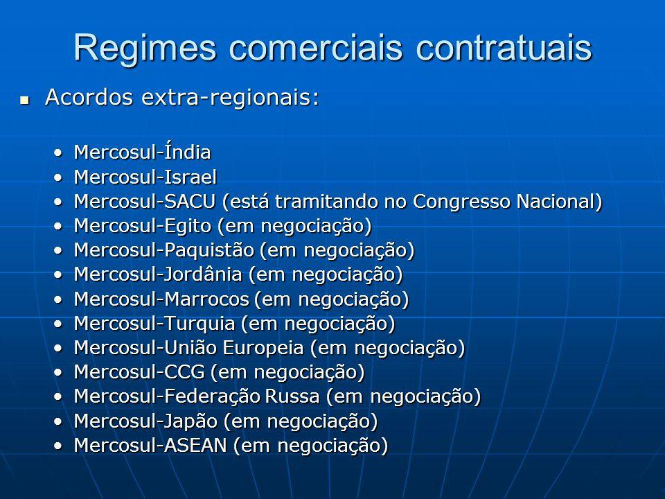 Regimes comerciais contratuais  Acordos extra-regionais: •Mercosul-Índia •Mercosul-Israel •Mercosul-SACU (está tramitando no Congresso Nacional) •Mercosul-Egito (em negociação) •Mercosul-Paquistão (em negociação) •Mercosul-Jordânia (em negociação) •Mercosul-Marrocos (em negociação) •Mercosul-Turquia (em negociação) •Mercosul-União Europeia (em negociação) •Mercosul-CCG (em negociação) •Mercosul-Federação Russa (em negociação) •Mercosul-Japão (em negociação) •Mercosul-ASEAN (em negociação)