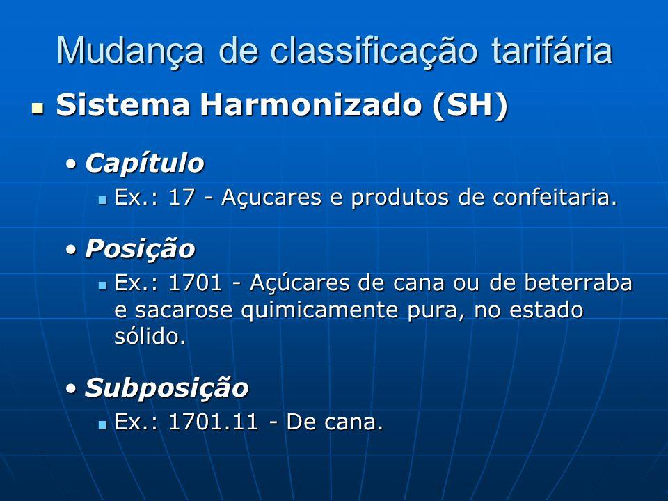 Mudança de classificação tarifária  Sistema Harmonizado (SH) •Capítulo  Ex.: 17 - Açucares e produtos de confeitaria.