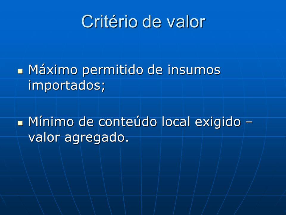 Critério de valor  Máximo permitido de insumos importados;  Mínimo de conteúdo local exigido – valor agregado.