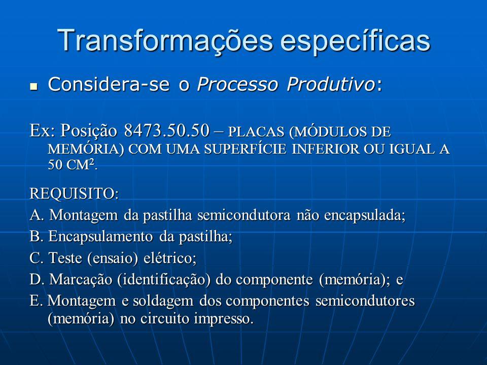 Transformações específicas  Considera-se o Processo Produtivo: Ex: Posição 8473.50.50 – PLACAS (MÓDULOS DE MEMÓRIA) COM UMA SUPERFÍCIE INFERIOR OU IGUAL A 50 CM 2.