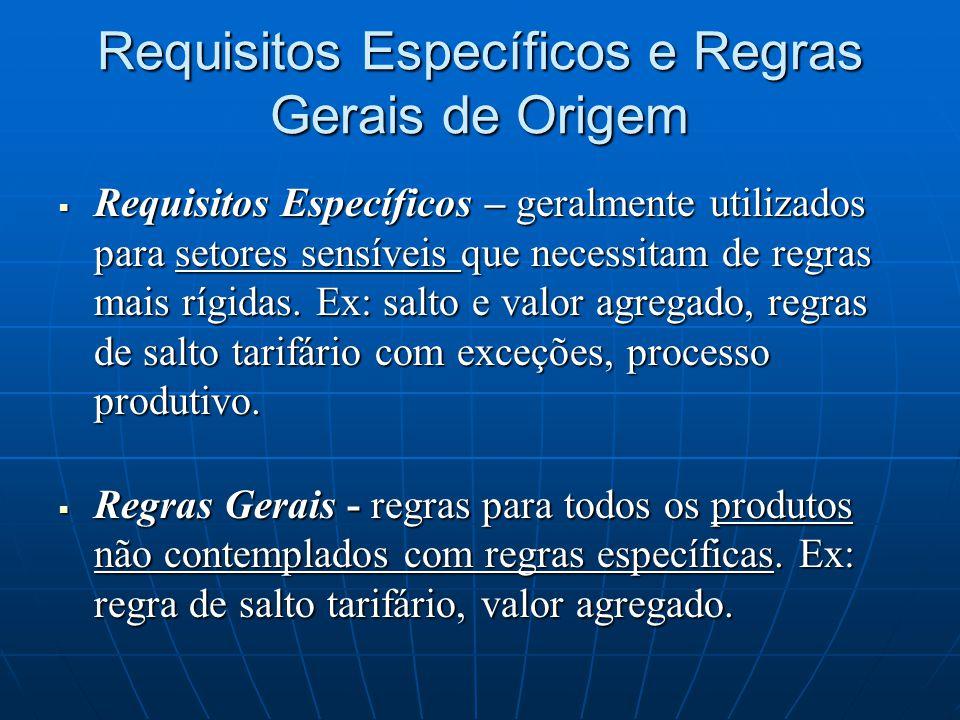 Requisitos Específicos e Regras Gerais de Origem  Requisitos Específicos – geralmente utilizados para setores sensíveis que necessitam de regras mais rígidas.
