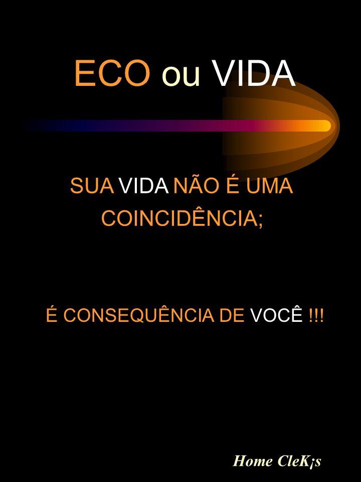 ECO ou VIDA SUA VIDA NÃO É UMA COINCIDÊNCIA; É CONSEQUÊNCIA DE VOCÊ !!! Home CleK¡s