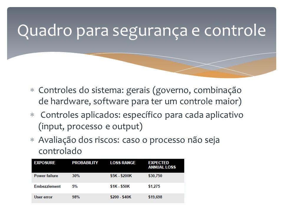  Controles do sistema: gerais (governo, combinação de hardware, software para ter um controle maior)  Controles aplicados: específico para cada apli