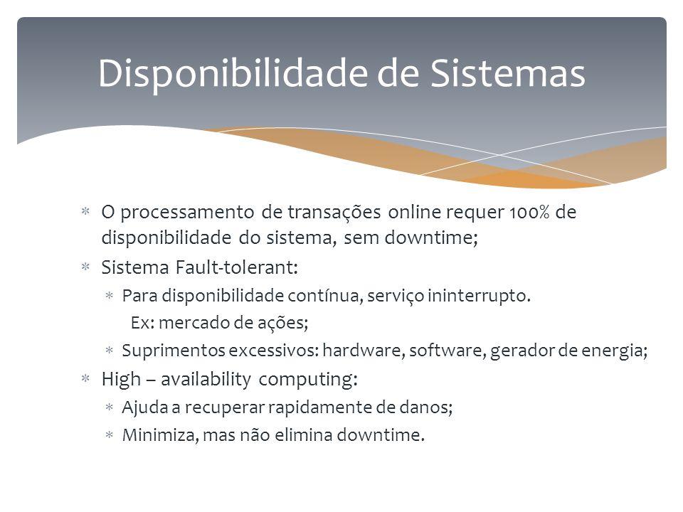 Disponibilidade de Sistemas  O processamento de transações online requer 100% de disponibilidade do sistema, sem downtime;  Sistema Fault-tolerant: