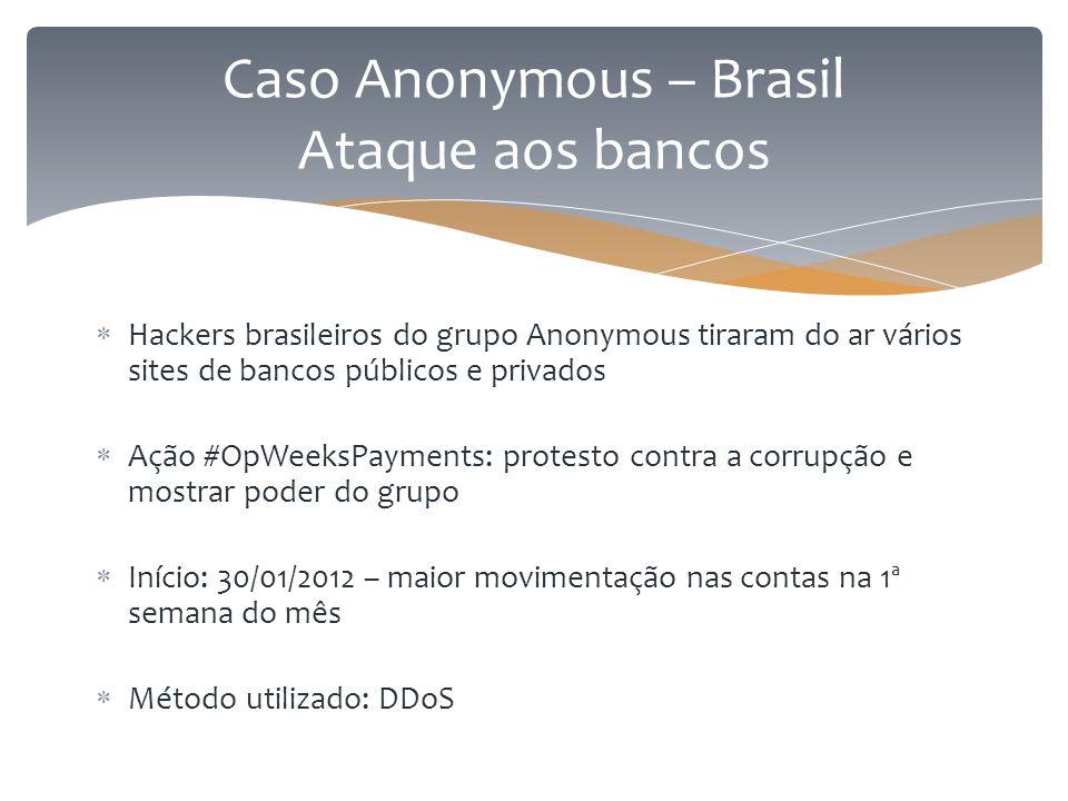  Hackers brasileiros do grupo Anonymous tiraram do ar vários sites de bancos públicos e privados  Ação #OpWeeksPayments: protesto contra a corrupção