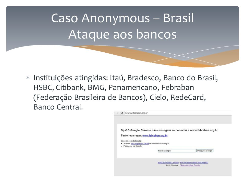  Instituições atingidas: Itaú, Bradesco, Banco do Brasil, HSBC, Citibank, BMG, Panamericano, Febraban (Federação Brasileira de Bancos), Cielo, RedeCa