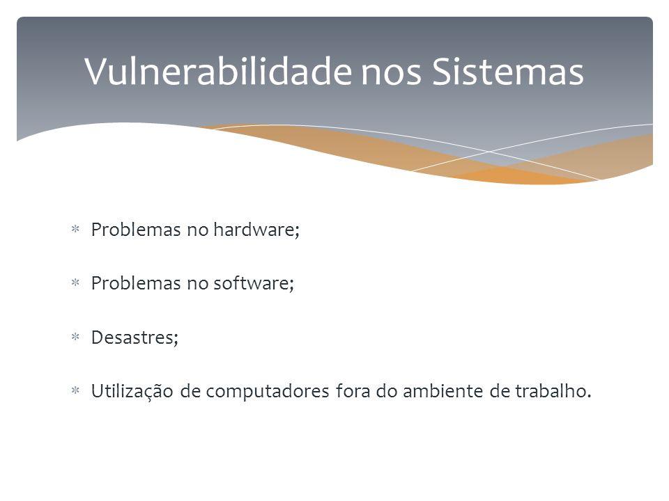  Problemas no hardware;  Problemas no software;  Desastres;  Utilização de computadores fora do ambiente de trabalho. Vulnerabilidade nos Sistemas