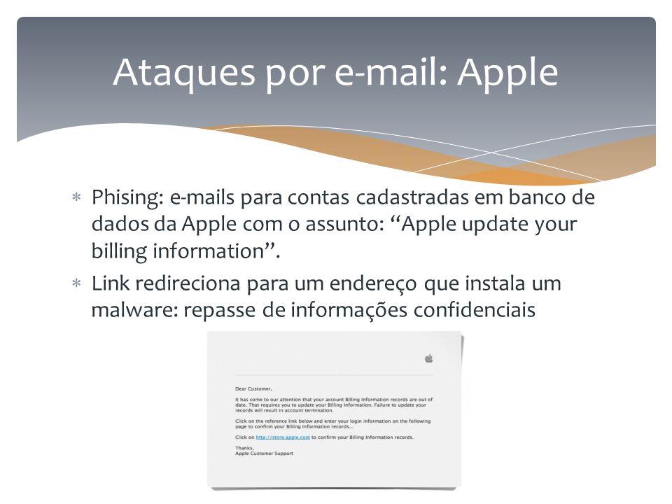 """ Phising: e-mails para contas cadastradas em banco de dados da Apple com o assunto: """"Apple update your billing information"""".  Link redireciona para"""