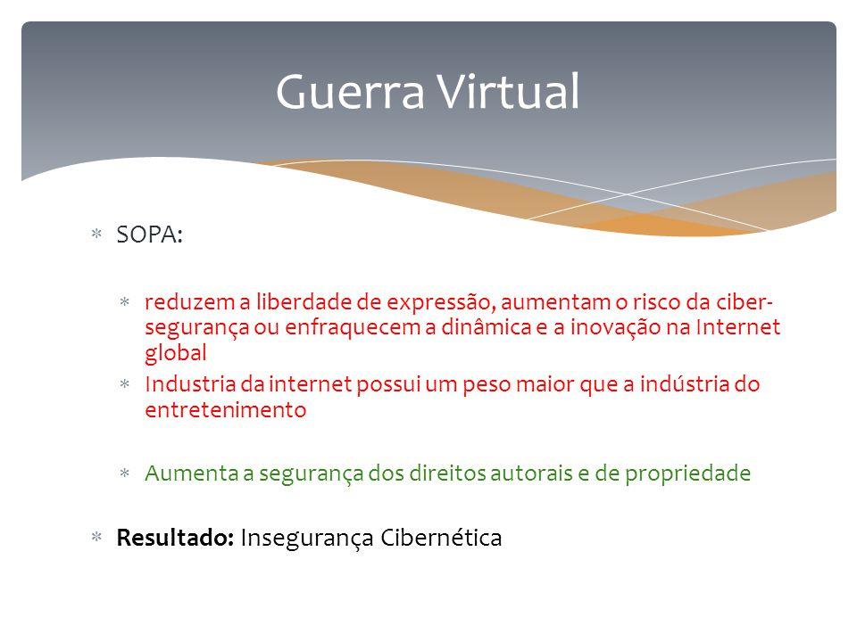  SOPA:  reduzem a liberdade de expressão, aumentam o risco da ciber- segurança ou enfraquecem a dinâmica e a inovação na Internet global  Industria