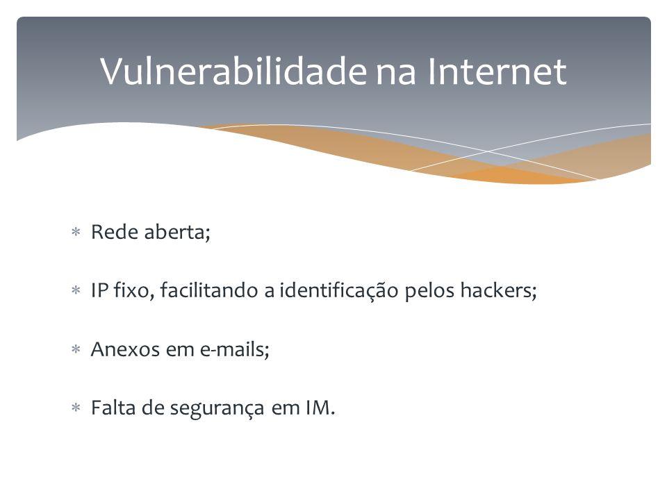  Rede aberta;  IP fixo, facilitando a identificação pelos hackers;  Anexos em e-mails;  Falta de segurança em IM. Vulnerabilidade na Internet