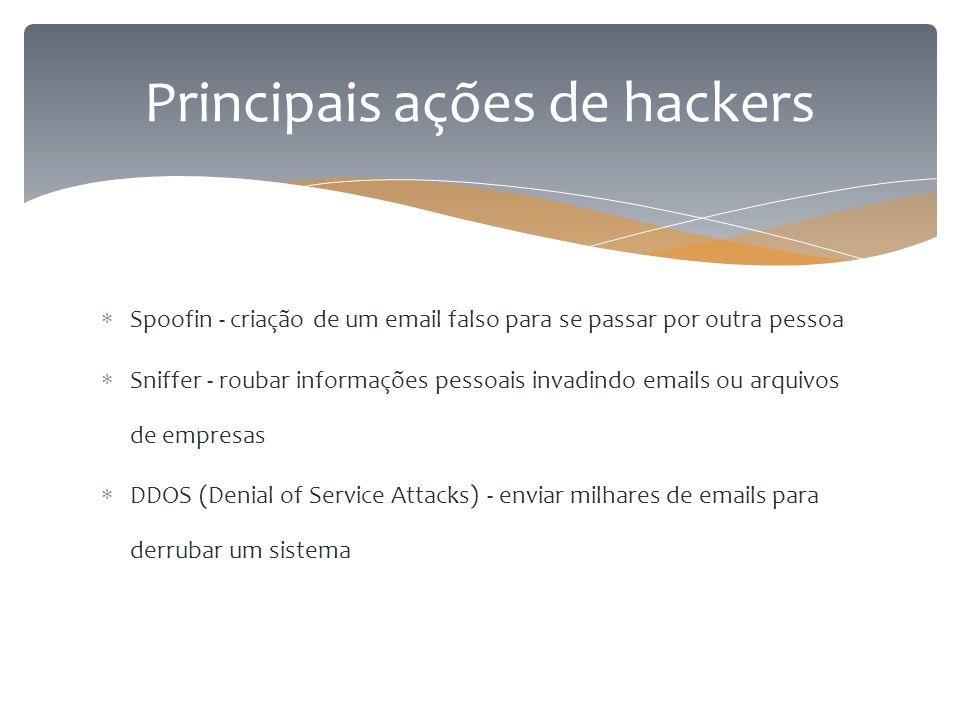  Spoofin - criação de um email falso para se passar por outra pessoa  Sniffer - roubar informações pessoais invadindo emails ou arquivos de empresas