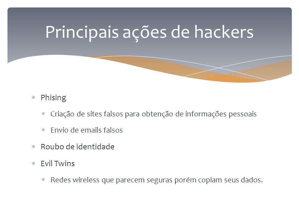  Phising  Criação de sites falsos para obtenção de informações pessoais  Envio de emails falsos  Roubo de identidade  Evil Twins  Redes wireless