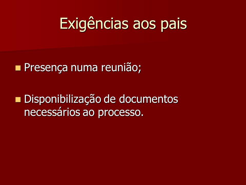 Exigências aos pais  Presença numa reunião;  Disponibilização de documentos necessários ao processo.
