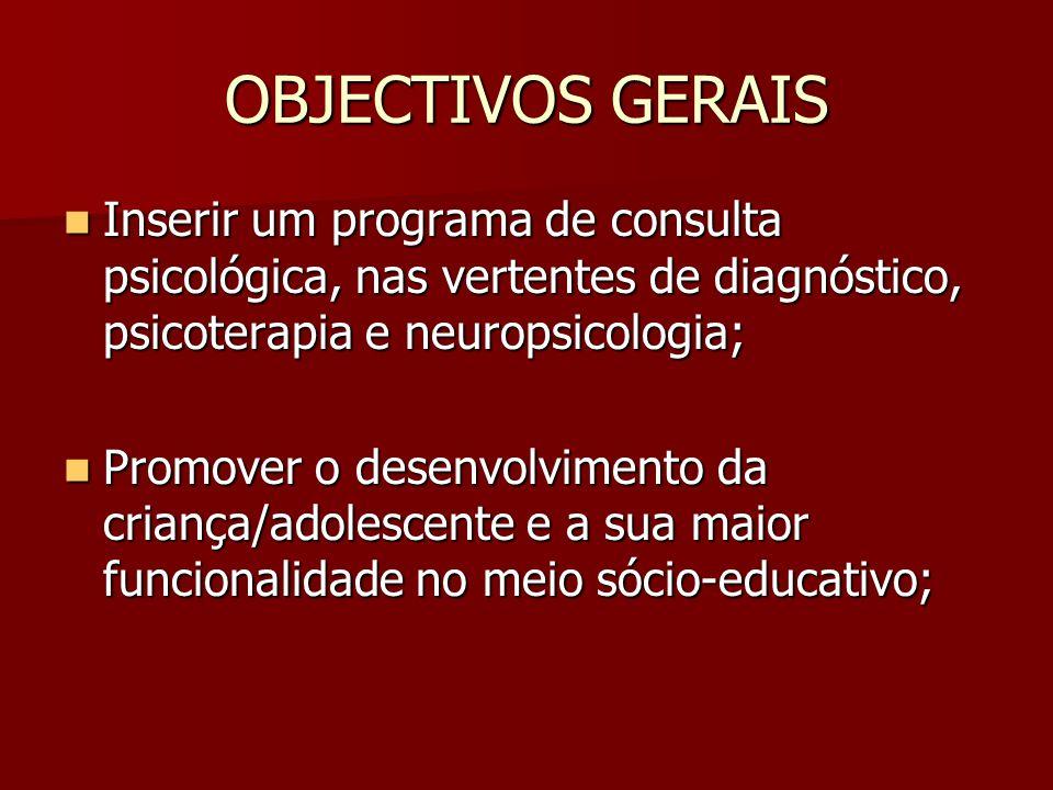OBJECTIVOS GERAIS  Inserir um programa de consulta psicológica, nas vertentes de diagnóstico, psicoterapia e neuropsicologia;  Promover o desenvolvimento da criança/adolescente e a sua maior funcionalidade no meio sócio-educativo;