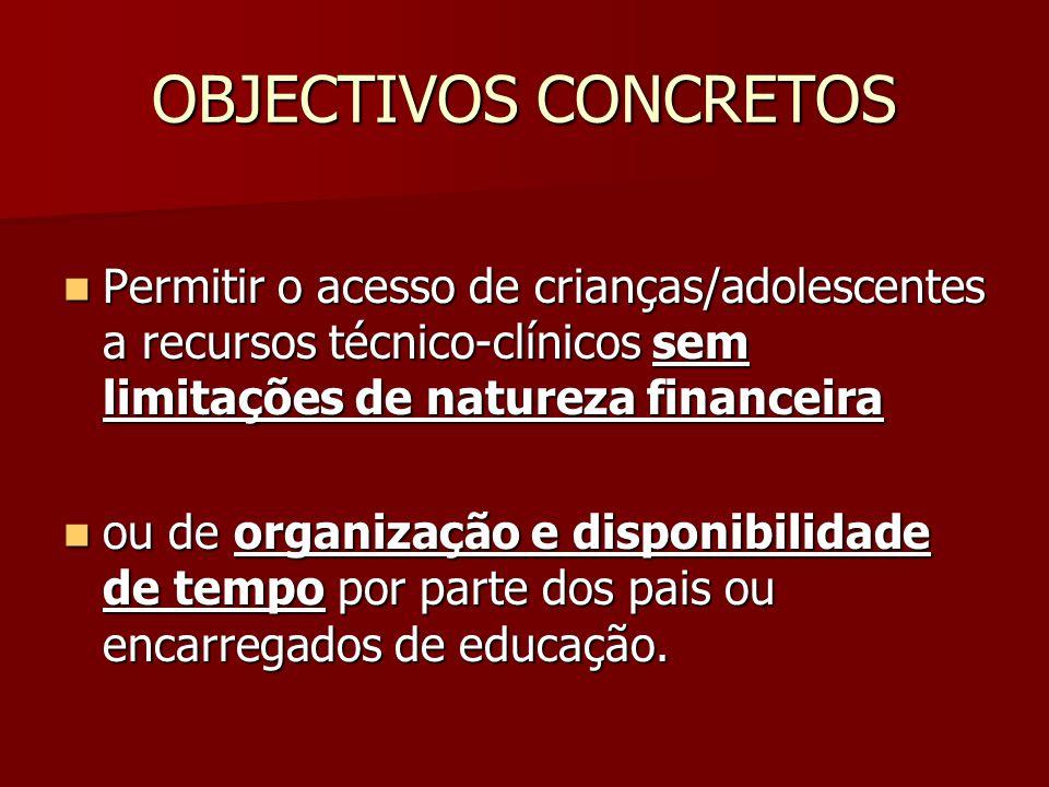 OBJECTIVOS CONCRETOS  Permitir o acesso de crianças/adolescentes a recursos técnico-clínicos sem limitações de natureza financeira  ou de organização e disponibilidade de tempo por parte dos pais ou encarregados de educação.