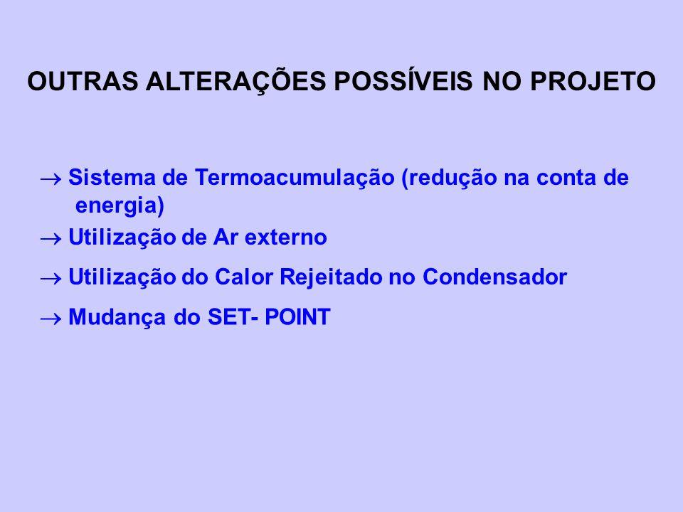 OUTRAS ALTERAÇÕES POSSÍVEIS NO PROJETO  Sistema de Termoacumulação (redução na conta de energia)  Utilização de Ar externo  Utilização do Calor Rej