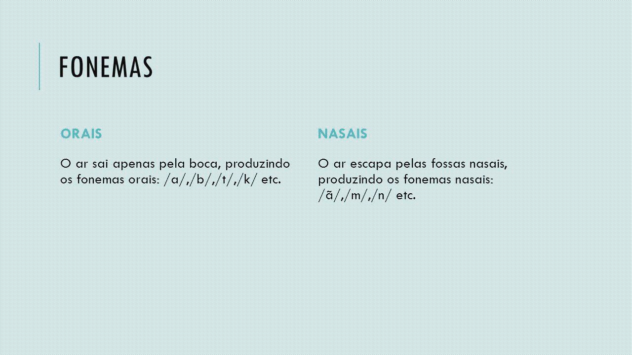 FONEMAS ORAIS O ar sai apenas pela boca, produzindo os fonemas orais: /a/,/b/,/t/,/k/ etc. NASAIS O ar escapa pelas fossas nasais, produzindo os fonem