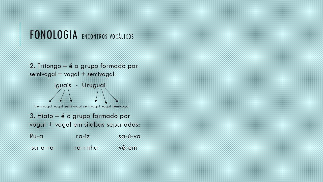 FONOLOGIA ENCONTROS VOCÁLICOS 2. Tritongo – é o grupo formado por semivogal + vogal + semivogal: Iguais - Uruguai Semivogal vogal semivogal semivogal
