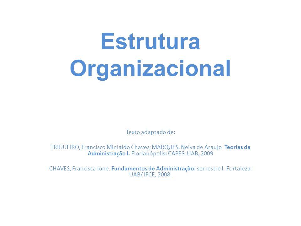Estrutura Organizacional Texto adaptado de: TRIGUEIRO, Francisco Minialdo Chaves; MARQUES, Neiva de Araujo Teorias da Administração I. Florianópolis: