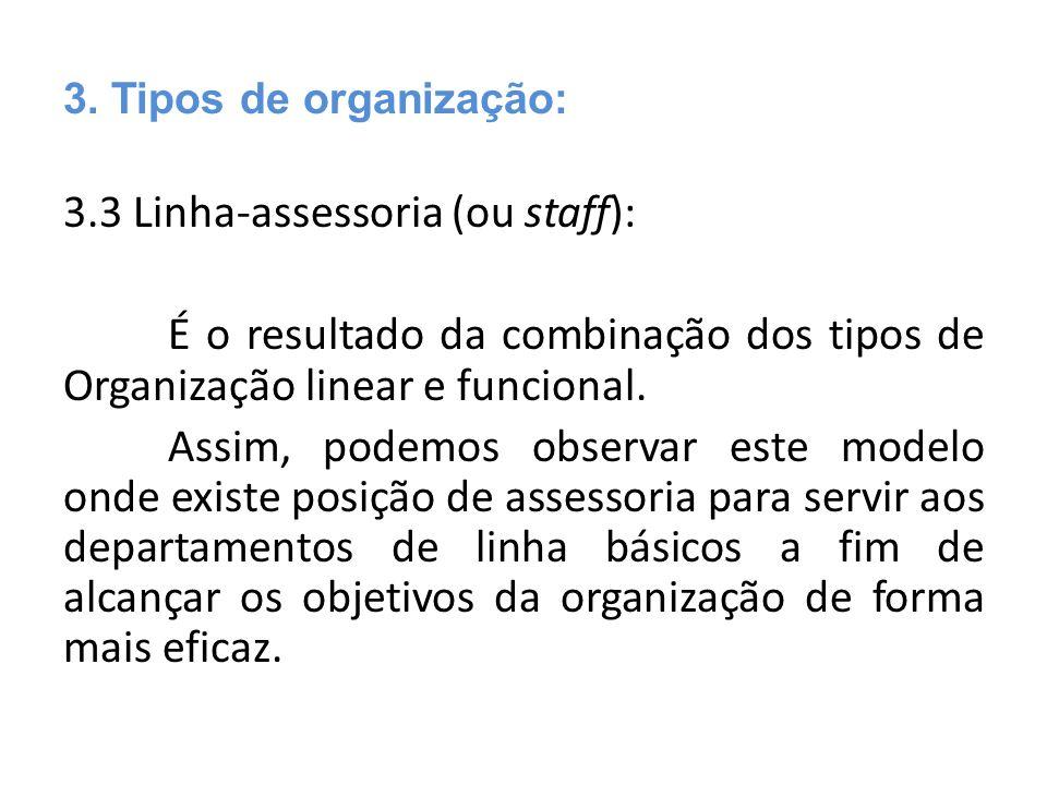 3.3 Linha-assessoria (ou staff): É o resultado da combinação dos tipos de Organização linear e funcional. Assim, podemos observar este modelo onde exi