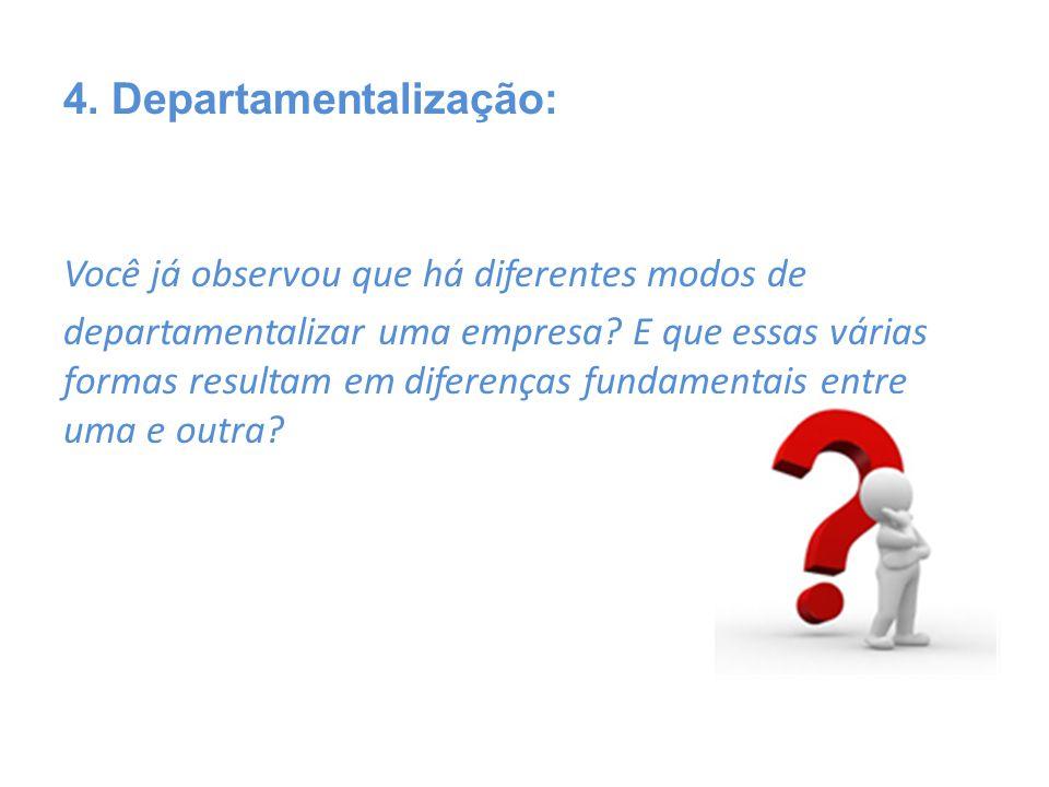 Você já observou que há diferentes modos de departamentalizar uma empresa? E que essas várias formas resultam em diferenças fundamentais entre uma e o