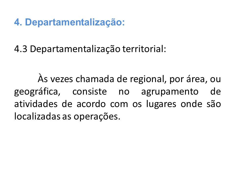 4.3 Departamentalização territorial: Às vezes chamada de regional, por área, ou geográfica, consiste no agrupamento de atividades de acordo com os lug