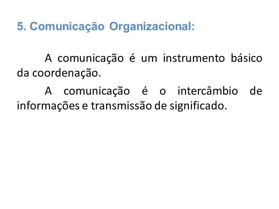 A comunicação é um instrumento básico da coordenação. A comunicação é o intercâmbio de informações e transmissão de significado. 5. Comunicação Organ