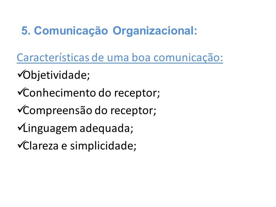 Características de uma boa comunicação:  Objetividade;  Conhecimento do receptor;  Compreensão do receptor;  Linguagem adequada;  Clareza e simpl