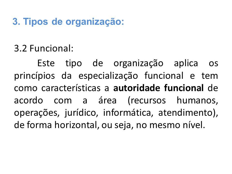 3.2 Funcional: Este tipo de organização aplica os princípios da especialização funcional e tem como características a autoridade funcional de acordo c
