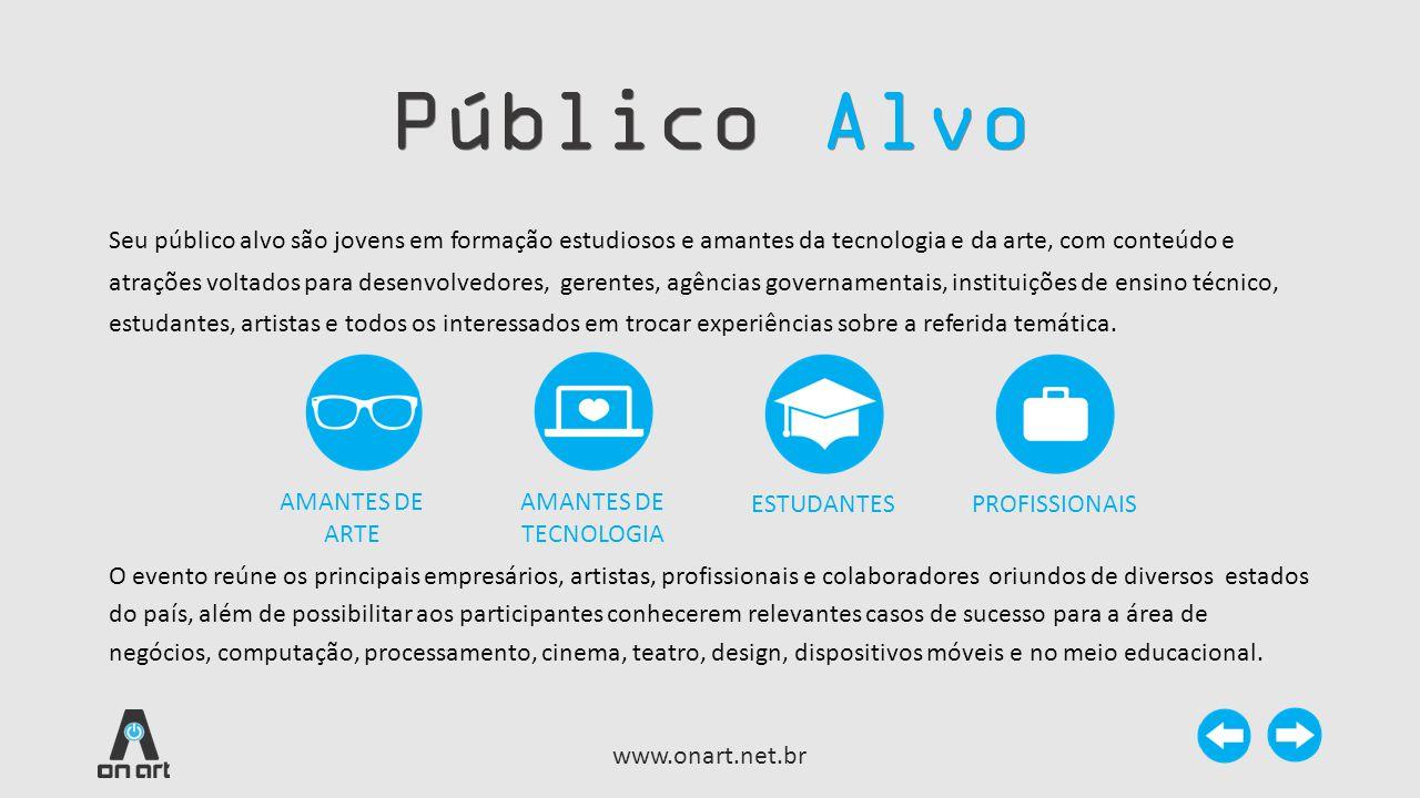 Público Alvo www.onart.net.br Seu público alvo são jovens em formação estudiosos e amantes da tecnologia e da arte, com conteúdo e atrações voltados p