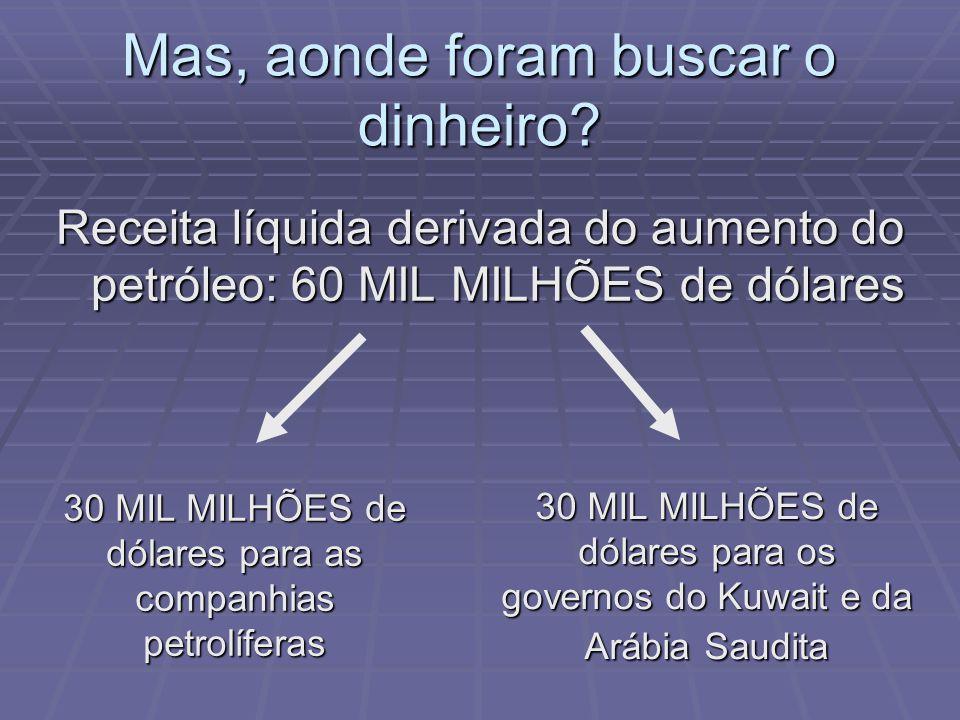 Receita líquida derivada do aumento do petróleo: 60 MIL MILHÕES de dólares 30 MIL MILHÕES de dólares para as companhias petrolíferas 30 MIL MILHÕES de