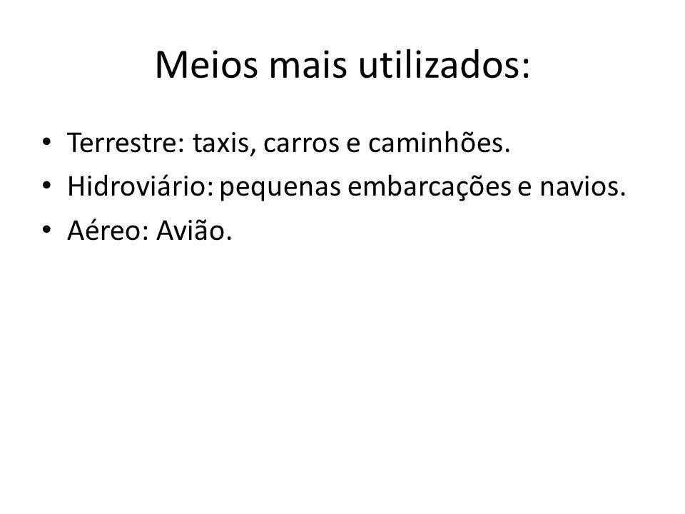 Meios mais utilizados: • Terrestre: taxis, carros e caminhões. • Hidroviário: pequenas embarcações e navios. • Aéreo: Avião.