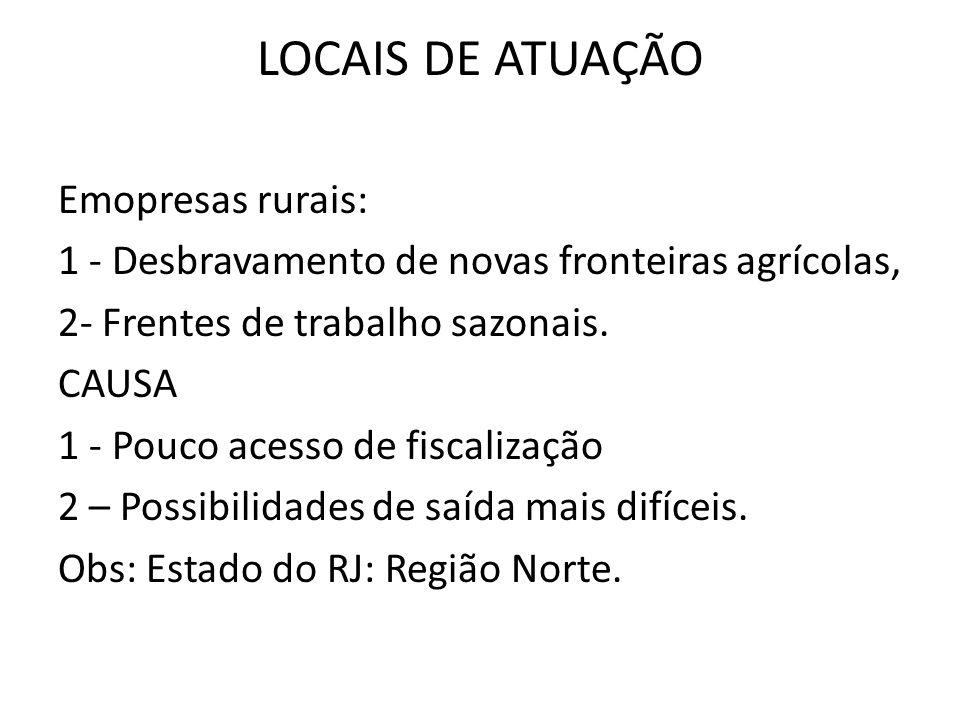 LOCAIS DE ATUAÇÃO Emopresas rurais: 1 - Desbravamento de novas fronteiras agrícolas, 2- Frentes de trabalho sazonais. CAUSA 1 - Pouco acesso de fiscal