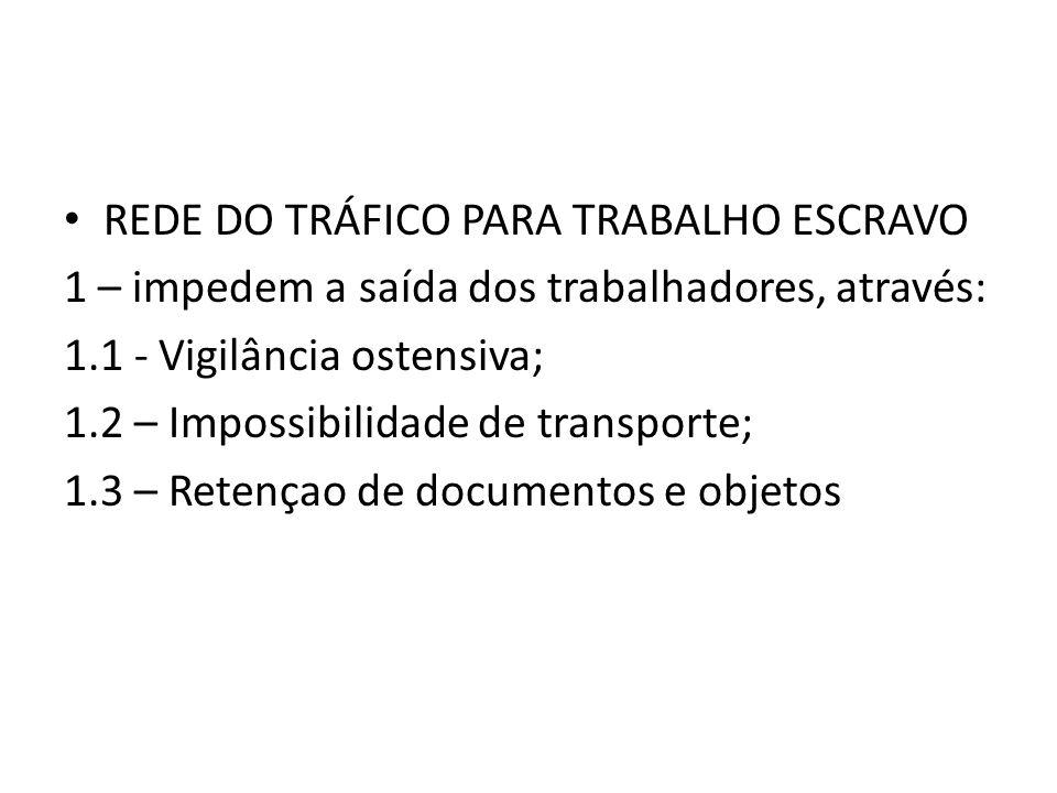 • REDE DO TRÁFICO PARA TRABALHO ESCRAVO 1 – impedem a saída dos trabalhadores, através: 1.1 - Vigilância ostensiva; 1.2 – Impossibilidade de transport
