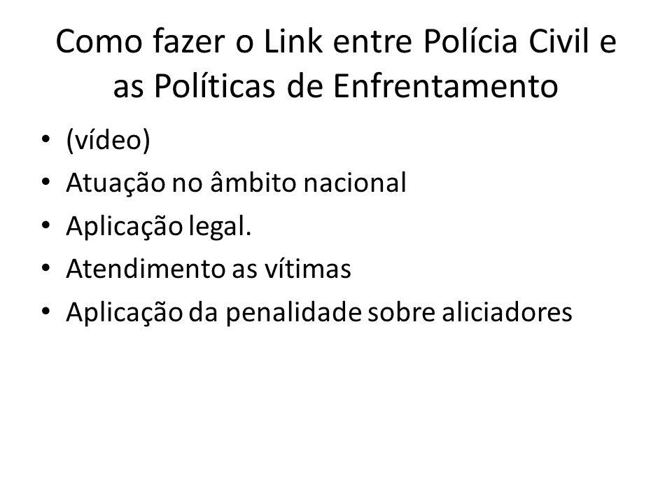 Como fazer o Link entre Polícia Civil e as Políticas de Enfrentamento • (vídeo) • Atuação no âmbito nacional • Aplicação legal. • Atendimento as vítim