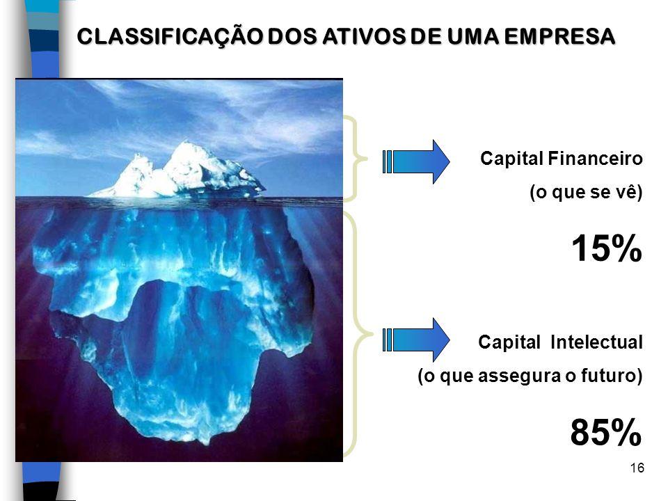 16 Capital Intelectual (o que assegura o futuro) 85% Capital Financeiro (o que se vê) 15% CLASSIFICAÇÃO DOS ATIVOS DE UMA EMPRESA