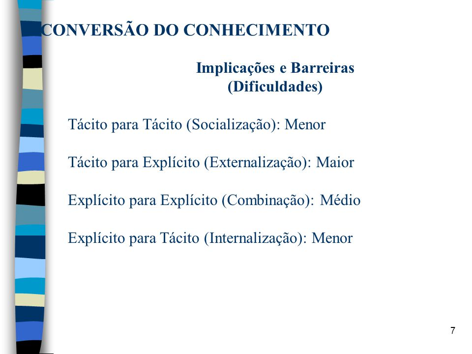 7 CONVERSÃO DO CONHECIMENTO Implicações e Barreiras (Dificuldades) Tácito para Tácito (Socialização): Menor Tácito para Explícito (Externalização): Ma