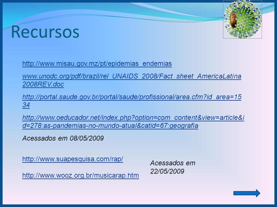 Recursos http://www.misau.gov.mz/pt/epidemias_endemias www.unodc.org/pdf/brazil/rel_UNAIDS_2008/Fact_sheet_AmericaLatina 2008REV.doc http://portal.sau